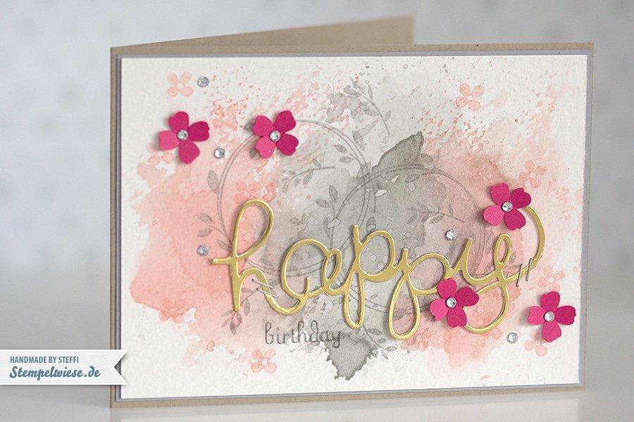 Stampin' Up! - Birthday Card - Water Color - Geburtstagskarte - Aquarell - Gold ❤ Stempelwiese kirschbluete-schiefergrau-150330