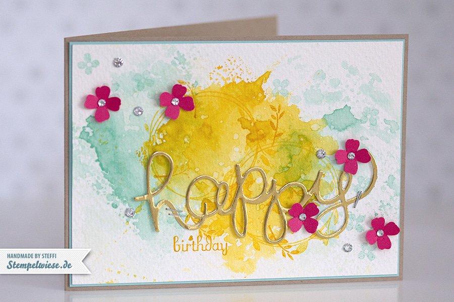 Stampin' Up! - Birthday Card - Water Color - Geburtstagskarte - Aquarell - Gold ❤ Stempelwiese osterglocke-aquamarin-150330