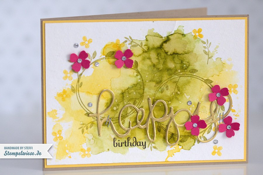 Stampin' Up! - Birthday Card - Water Color - Geburtstagskarte - Aquarell - Gold ❤ Stempelwiese osterglocke-farngruen-150330