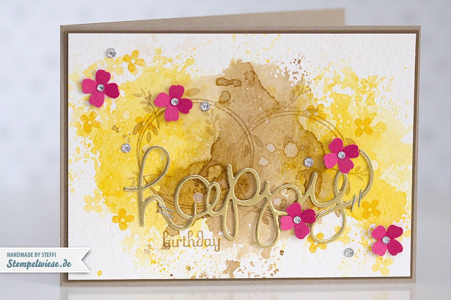 Stampin' Up! - Birthday Card - Water Color - Geburtstagskarte - Aquarell - Gold ❤ Stempelwieseosterglocke-kandiszucker-150330