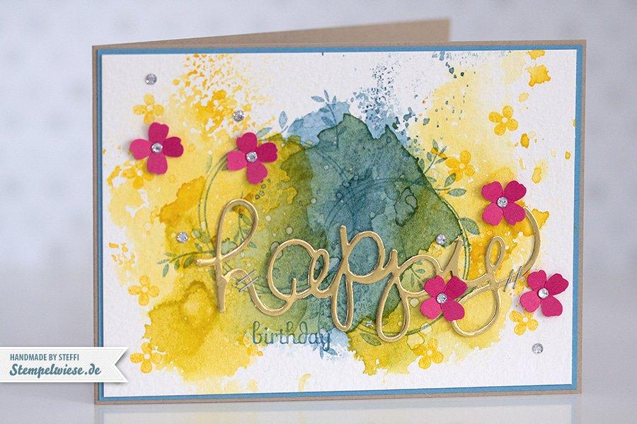 Stampin' Up! - Birthday Card - Water Color - Geburtstagskarte - Aquarell - Gold ❤ Stempelwiese osterglocke-ozeanblau-150330