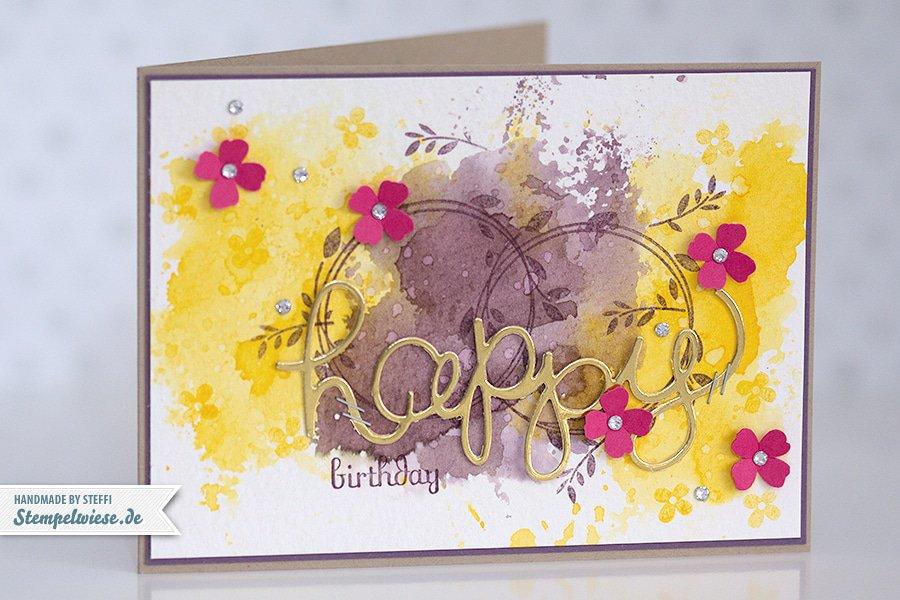 Stampin' Up! - Birthday Card - Water Color - Geburtstagskarte - Aquarell - Gold ❤ Stempelwiese osterglocke-pflaumenblau-150330