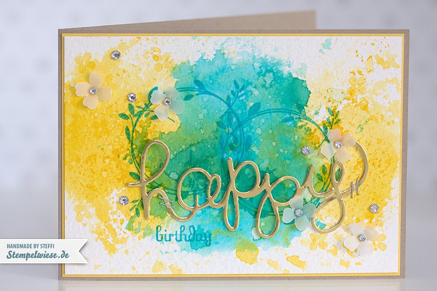 Stampin' Up! - Birthday Card - Water Color - Geburtstagskarte - Aquarell - Gold ❤ Stempelwiese osterglocke-tuerkis-150330