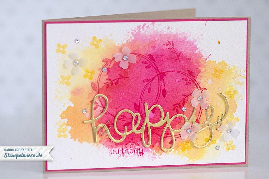 Stampin' Up! - Birthday Card - Water Color - Geburtstagskarte - Aquarell - Gold ❤ Stempelwiese osterglocke-wassermelone-150330