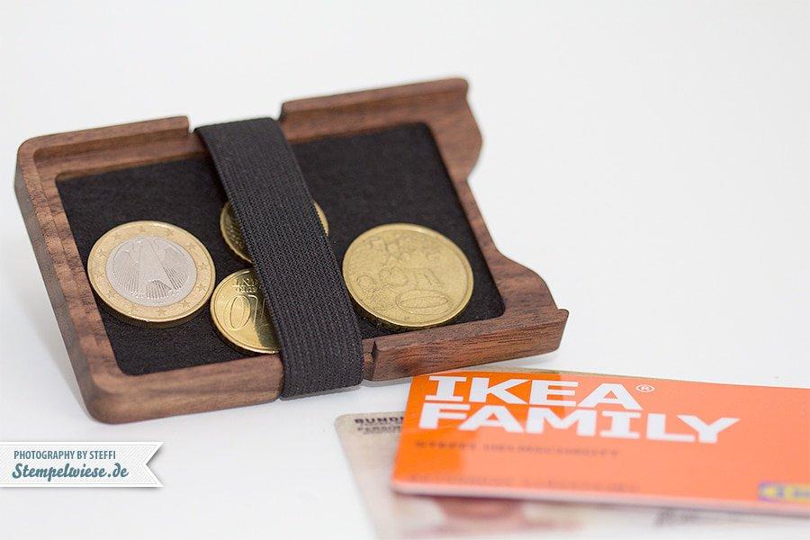 Geldbörse aus Holz - Chipkarten