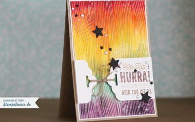 Geburtstagskarte in Regenbogen