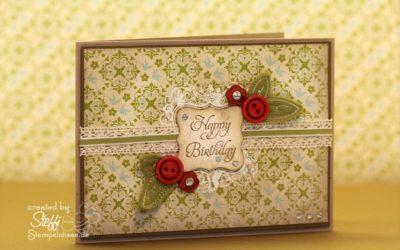 Geburtstagskarte mit Knöpfen und Filzblättern
