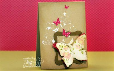 Grußkarte mit gerahmten Schmetterling