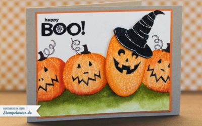 Halloweenkarte – Happy Boo – Kürbiskopf
