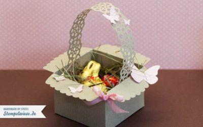 Osterkörbchen aus Umschlag mit Zierlasche