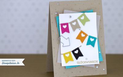 Geburtstagskarte mit bunten Fähnchen
