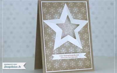 Weihnachtskarte mit 3D Stern aus Framelits