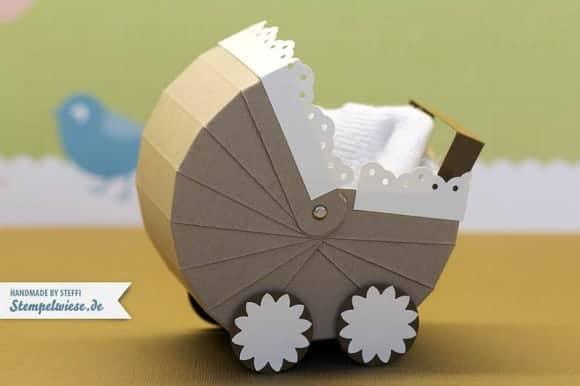 kinderwagen aus papier ideal f r kleine geschenke stempelwiese. Black Bedroom Furniture Sets. Home Design Ideas