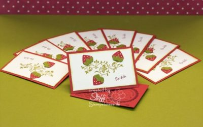 Visitenkarten selber gebastelt – Erdbeerzeit