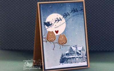 Weihnachtskarte mit Eulen