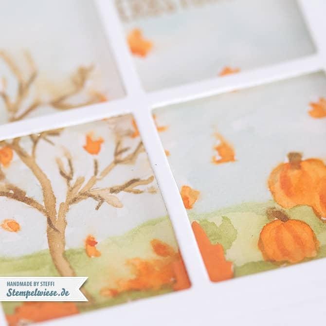 Schüttelkarte - Shaker Card - Herbst - Autumn -  Fröhliche Stunden - Happy Scenes - Aquarell ❤ Stempelwiese