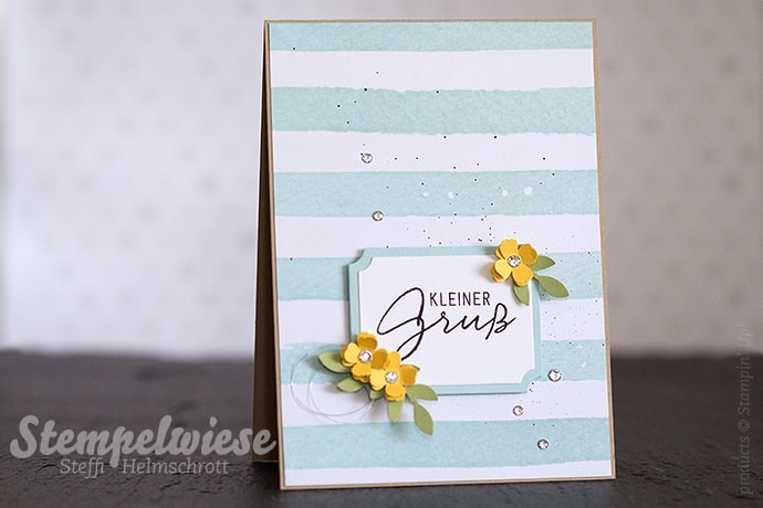 Globald Design Project - GDP005 - Stampin' Up! - Greeting Card - Color Challenge - Daffodil Delight - Osterglocke - Pear Pizzazz - Farngrün - Soft Sky - Himmelblau - Malerische Grüße ❤︎ Stempelwiese