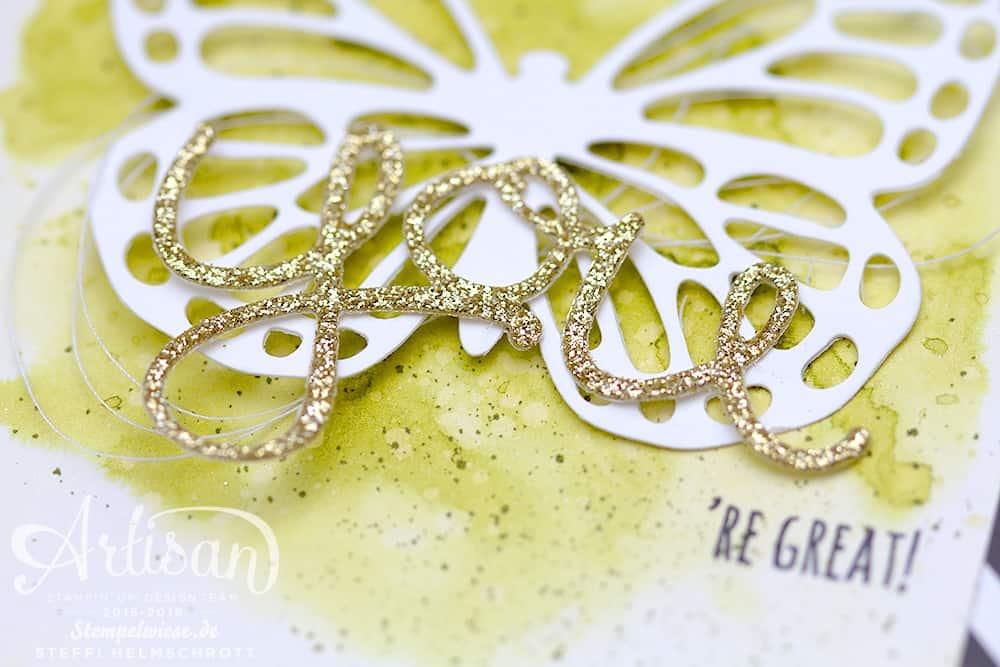 Glückwunschkarte - Stampin' Up! - Schmetterling - Thinlits Butterflies - Olivgrün - Gold ❤︎ Stempelwiese