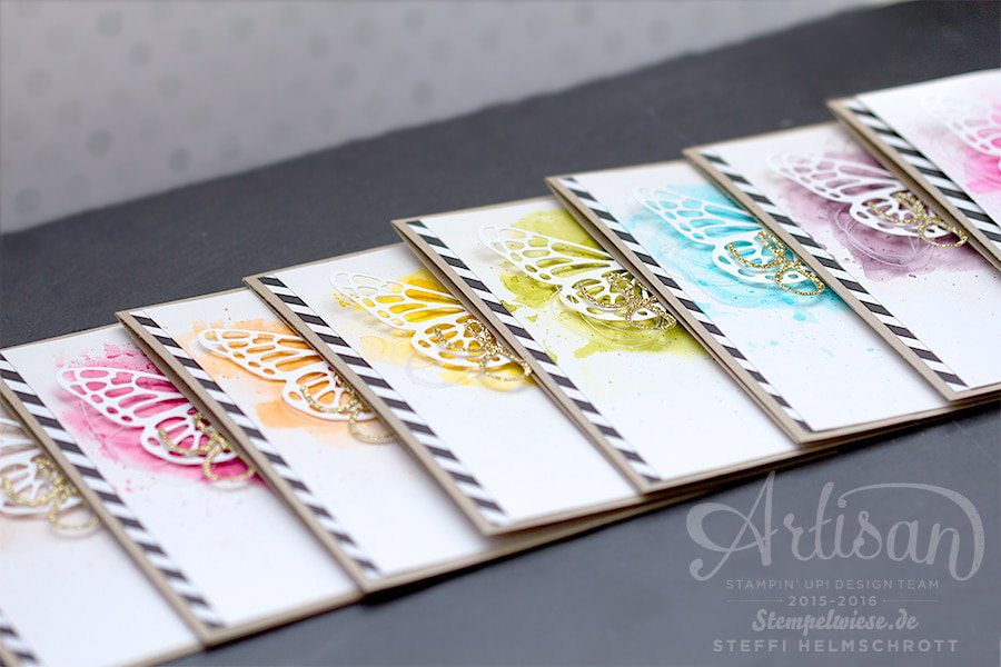 Glückwunschkarte - Stampin' Up! - Schmetterling - Thinlits Butterflies - Rainbow - Gold ❤︎ Stempelwiese