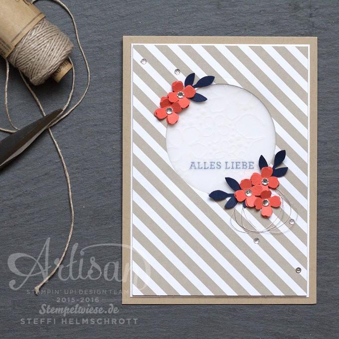 Geburtstagskarte, Stampin' Up!, Global Design Project, Stempelwiese, Calypso, Marineblau, Saharasand, Farbchallenge
