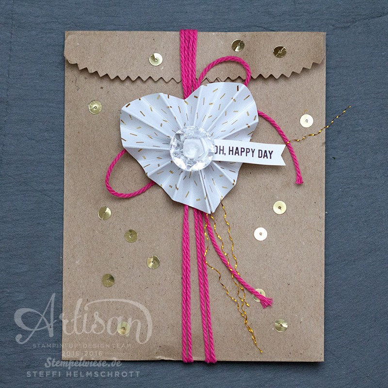 Accordion, Fold, Heart, Tutorial, Stampin' Up!, Artisan Designteam, Herz, Rosette, Stempelwiese
