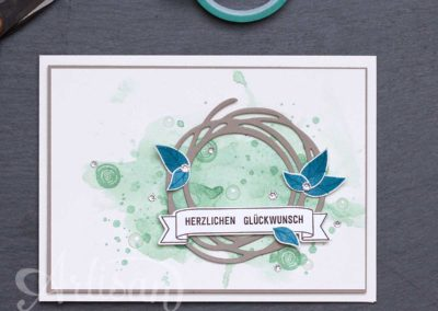 Geburtstagskarte - Global Design Project - Swirly Bird - Aquarell - Wunderbar Verwickelt - Stempelwiese
