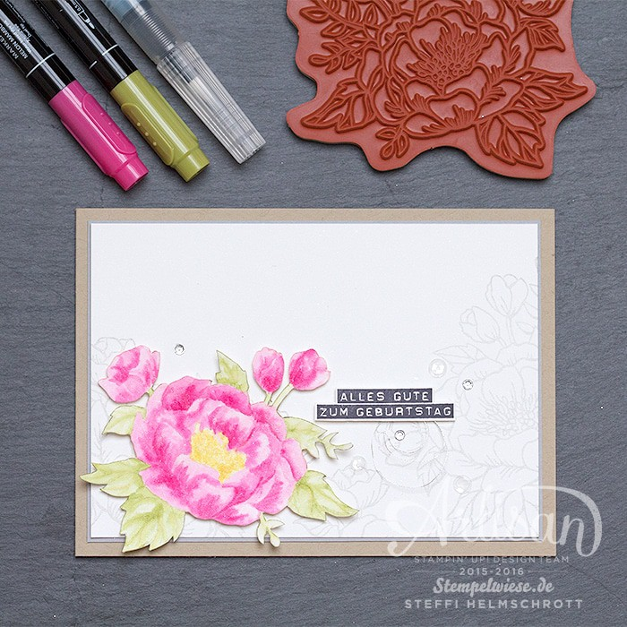 Geburtstagskarte, Global Design Project, Aquarell, Geburtstagsblumen, Stempelwiese