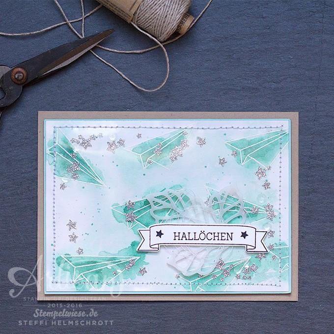 Grußkarte, Shaker Card, Schüttelkarte, Artisan Designteam, Stampin' Up!, Aquarell, Für Himmelsstürmer, Stempelwiese