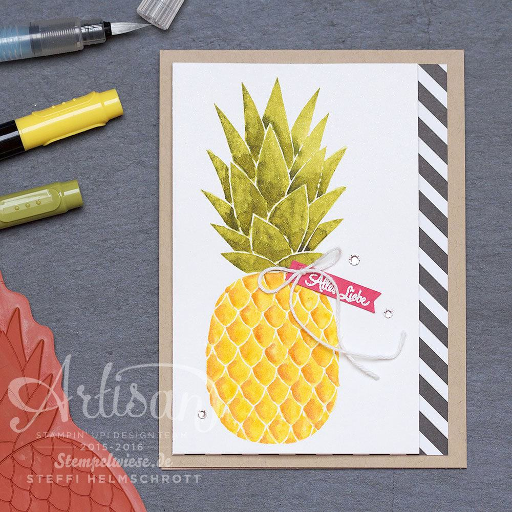 Artisan Designteam - Stampin' Up! - Pineapple - Aquarelle - Ananas - Video - Anleitung - Stempelwiese