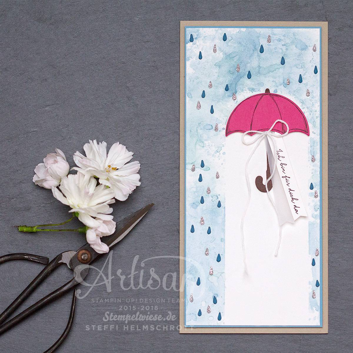 Stampin' Up! - Global Design Project - Donnerwetter - Framelits Regentage - Ich bin immer fuer dich da - Stempelwiese