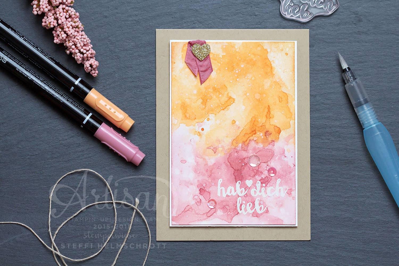 Hab dich Lieb Karte in Aquarell mit Pfirsich Pur und Zarte Pflaume
