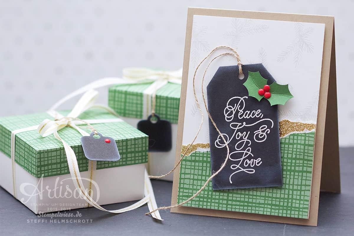 Artisan Designteam - Stampin' Up! - Peace this Christmas - Designerpapier Für Weihnachten - Weihnachtskarte mit Geschenkschachteln - Stempelwiese