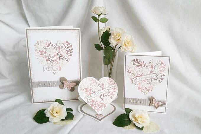 Hochzeitsset mit Menükarte, Einladung und Platzkarte