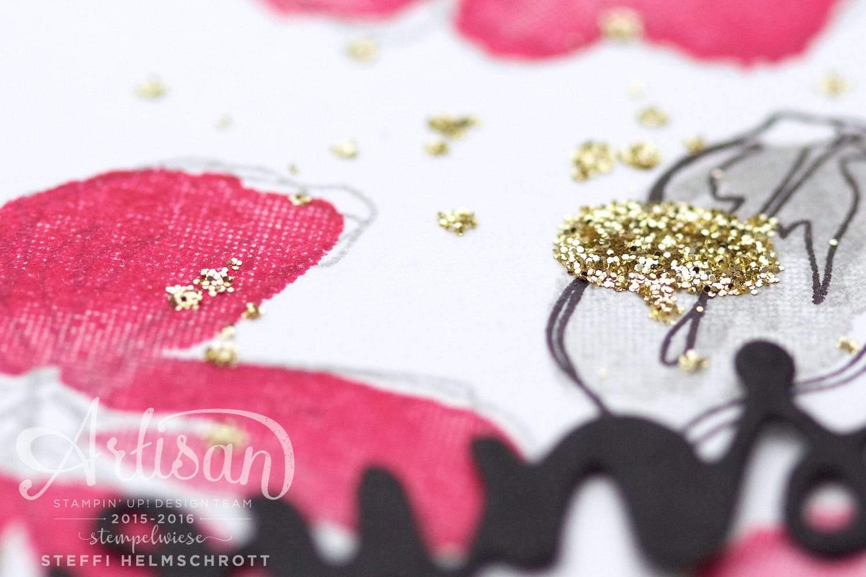 Glückwunschkarte mit Blumen mit Goldglitzer-Akzenten