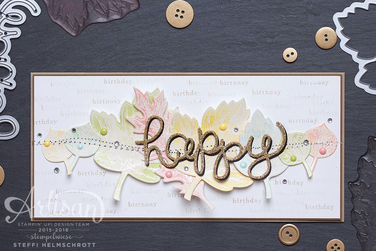 Geburtstagskarte stempeln mit Blaettern