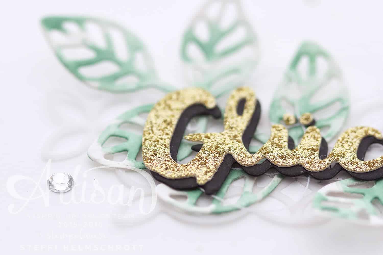 Glückwunschkarte Blütenpoesie Gold