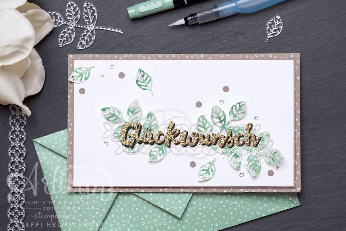 Glückwunschkarte mit Origami Umschlag (Thinlits Blütenpoesie)