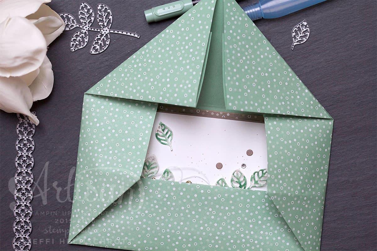 Origami Umschlag Glückwunschkarte Blütenpoesie