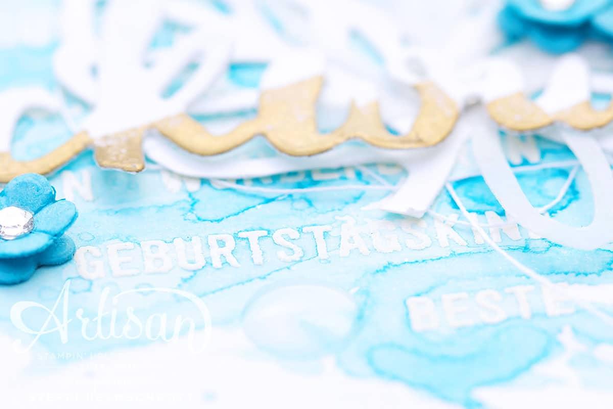 Glückwunschkarte mit Aquarellhintergrund - Türkis