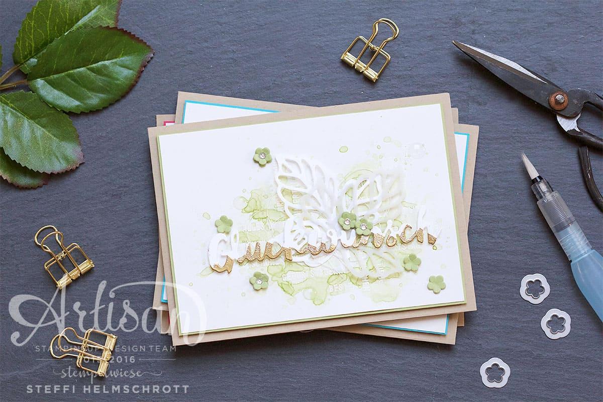 Glückwunschkarte mit Aquarellhintergrund - Olivgrün