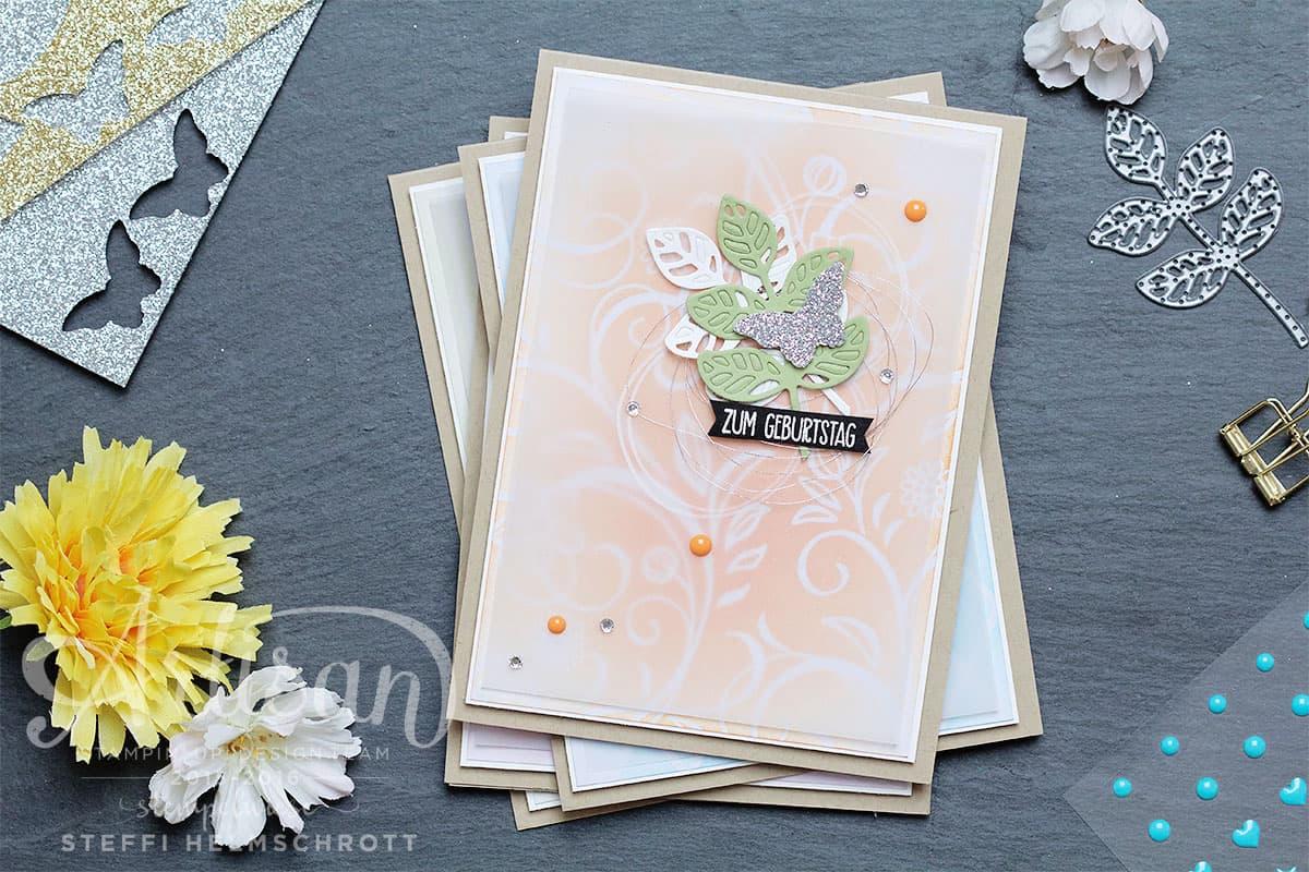 Geburtstagskarte in vier Farben - Pfirsich Pur