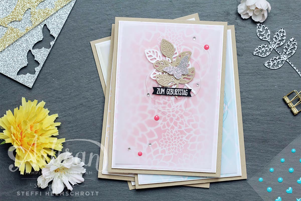 Geburtstagskarte in vier Farben - Rosenrot