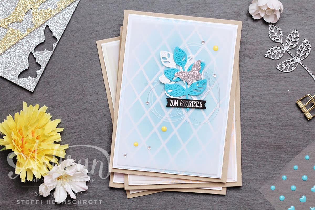 Geburtstagskarte in vier Farben - Türkis
