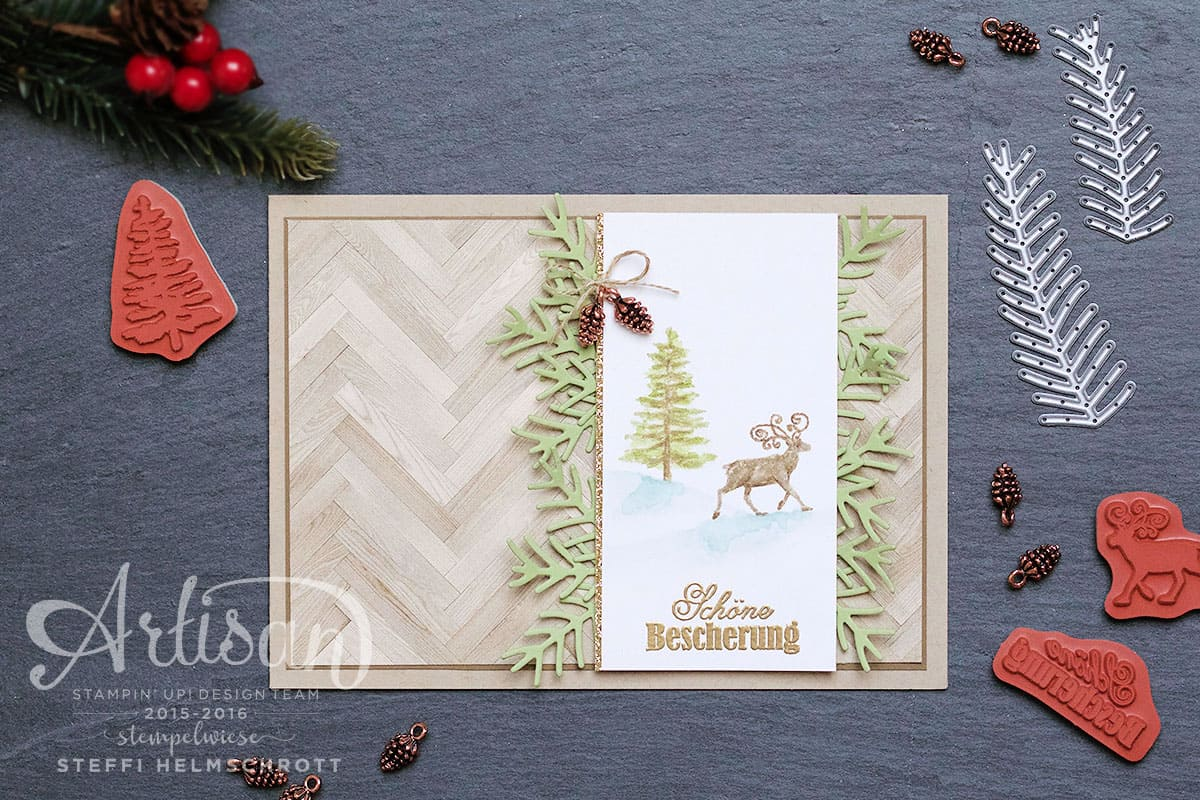 Holz Weihnachtskarten.Weihnachtskarte Mit Holz Hintergrund Stempelwiese