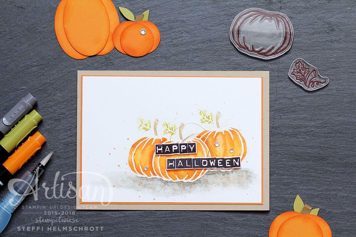 Grußkarte Happy Halloween mit Kürbis und embosster Kontur
