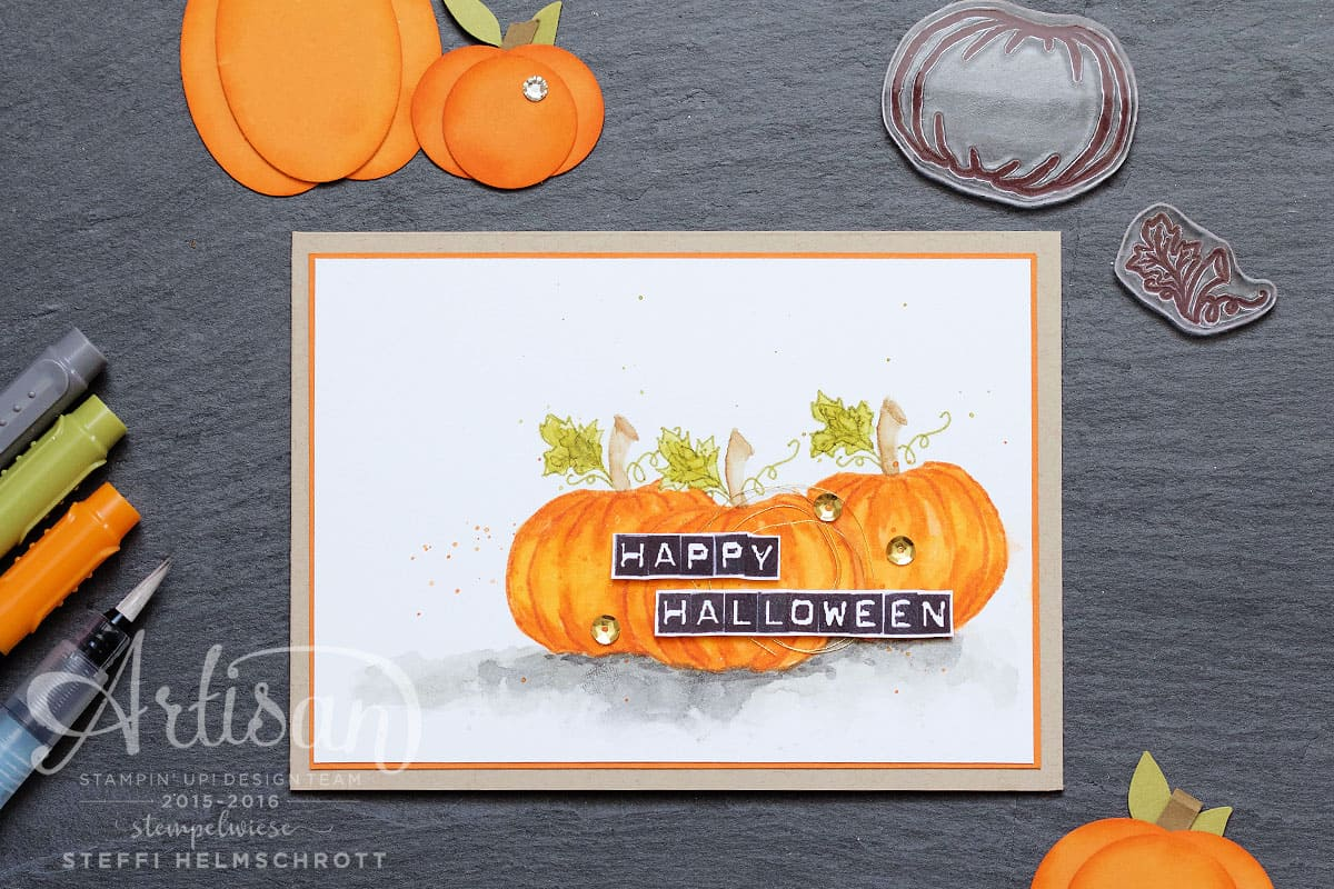 Grußkarte Happy Halloween mit Kürbis in Aquarell