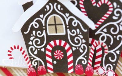 Weihnachtskarte mit Pfefferkuchenhaus #GDP60