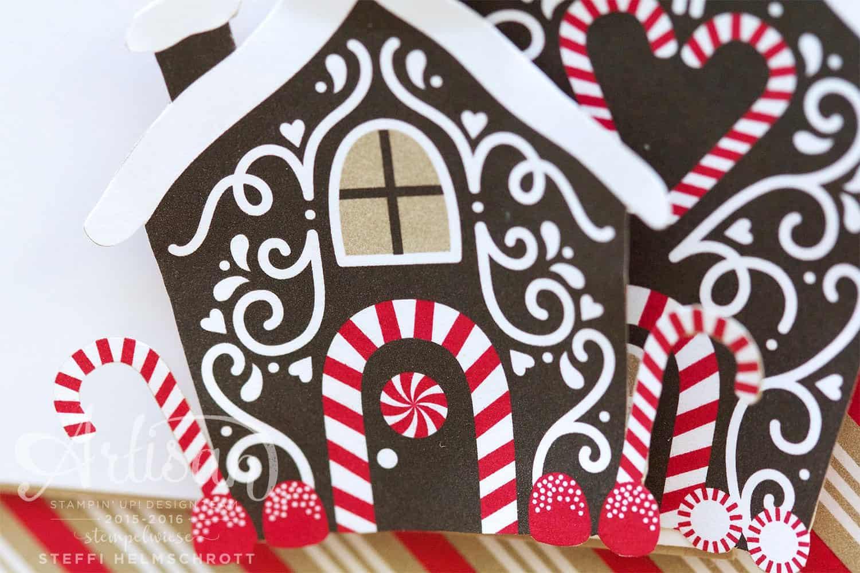 Weihnachtskarte Pfefferkuchenhaus - Zuckerstangenzauber