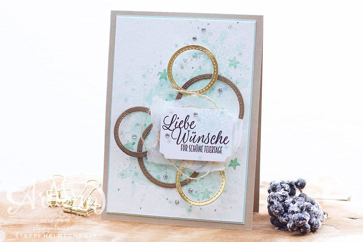 Weihnachtskarte mit Framelits Stickmuster - Stitched Shapes - Aquarell - Stempelwiese