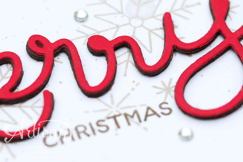 Weihnachtskarte mit 3D Schriftzug - Merry Christmas